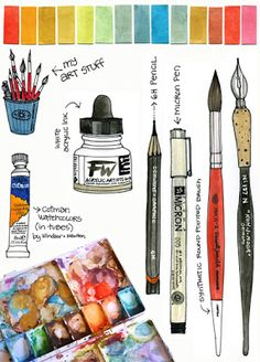 art supplies in an art journal Watercolor Tips, Watercolour Tutorials, Watercolor Techniques, Watercolour Painting, Art Techniques, Painting & Drawing, Watercolors, Painting Tools, Watercolor Lettering