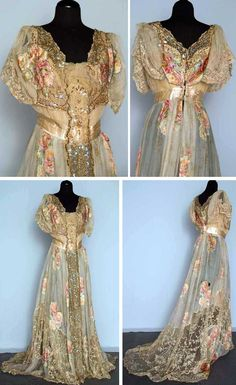 Summer evening gown, ca. 1890-1920. One-piece cream silk chiffon with pale printed & flocked rose blossom clusters in soft colors. Center front net panel covered with irridescent sequins & metallic copper coils in floral motifs. Embroidered net lace insets on bodice and hem. Chiffon lining. Augusta Auctions
