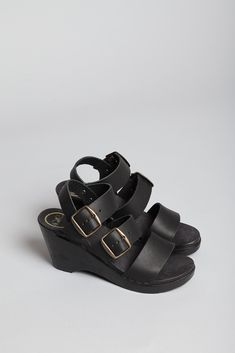 No. 6 Three Strap Wedge (Black) $185, down from $265. js