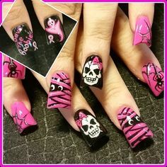 Breast Cancer Awareness Halloween by - Nail Art Gallery by Nails Magazine Halloween Nail Designs, Halloween Nail Art, Pink Halloween, Halloween Halloween, Pedicure, Nail Art Designs, Holloween Nails, October Nails, Seasonal Nails