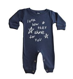 LOOK HOW THEY SHINE NAVY LONG SLEEVE ROMPER