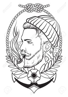 previews.123rf.com images klauskunstler klauskunstler1506 klauskunstler150600020 41695390-Hand-drawn-portrait-of-bearded-and-tattooed-sailor-with-tobacco-pipe--Stock-Vector.jpg