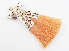 Peach Silk Thread Turkish Caftan Tassel Pendant  by LylaSupplies