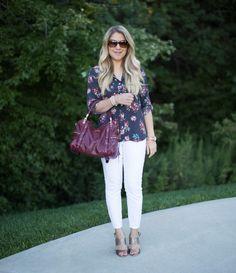 LOFT Hydrangea Utility Blouse Outfit