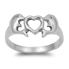 Sterling Silver Double Dolphin Ring with a cute heart in the middle. Only $7.99 and Free Shipping!!! Only at www.silver-mama.com