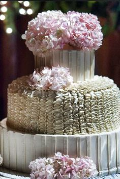 A beautiful wedding cake made by Some Crust Bakery.