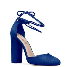 ShoeDazzle Pumps Misela Womens Blue ❤ liked on Polyvore featuring shoes, pumps, heels, blue, ankle strap wedge pumps, wedge heel shoes, blue heeled shoes, heel pump and blue shoes