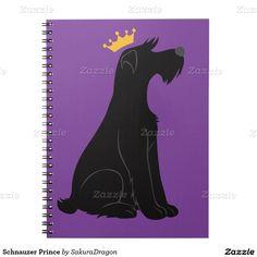 Schnauzer Prince Spiral Notebook #dogs #puppies #pets #animals #crown