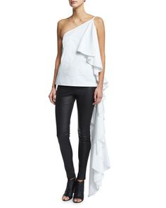 Sir Hangs-a-Lot Ruffled Cotton Top, White by Rosie Assoulin at Bergdorf Goodman.
