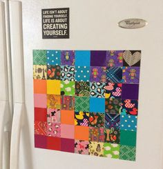 Fridge looking a little dull? Jazz it up with #DuctTape #magnet quilted #art!  Source - Duct Tape: 101 Adventurous Ideas for Art, Jewelry, Flowers, Wallets and More