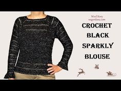DIY Tutorial - Crochet Black Sparkly Sweater - YouTube
