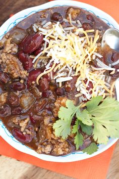 This 5-Ingredient Beef Chili Recipe is perfect for Halloween or any chili party--double, triple, or quadruple the batch for a large crowd!