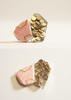 Rosie Kimber  Brooch - White precious metal, Yellow Precious Metal, Keum-boo, Resin Pigment   (May 2014 - DJCAD Degree Show, Dundee)