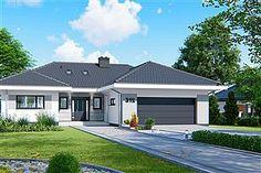 Projekt domu APS 312 Modern Brick House, Modern Bungalow Exterior, Modern Bungalow House, Bungalow House Plans, Dream House Exterior, Modern House Plans, House Roof Design, House Outside Design, Facade House