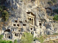 Lycian way: Some of the Lycian rock tombs you'll see on your left while you are at your first kilometre out of Fethiye Holiday Places, Holiday Destinations, Travel Destinations, The Beautiful Country, Beautiful Places, Great Places, Places To See, Turkey Travel, Future Travel