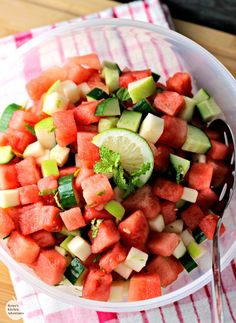 Easy Summer Fruit Salad plus 13 No-Cook Recipes to Keep You Cool- Sweet melon, refreshing cucumber and crisp apple combine with lime and mint for a taste sensation that makes a great side salad or snack any time of day!