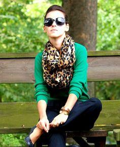 Green cardi and leopard print scarf. <3 http://www.studentrate.com/fashion/fashion.aspx