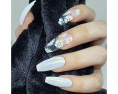 Apr 2020 - Dainty Daisy White Daisy Flower Press on Nails Clear Acrylic Nails, Bright Summer Acrylic Nails, Clear Nails, Acrylic Nail Designs, Clear Nail Designs, White Summer Nails, Spring Nails, Nail Summer, Flower Nail Designs