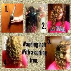 Wanding hair with a curling iron: take a piece of your hair and simply wrap a piece of it around … Two Braids, Braids Easy, Beautiful Braids, Curling Iron, 30 Seconds, Hair Lengths, Easy Hairstyles, Bangs, Bobby Pins