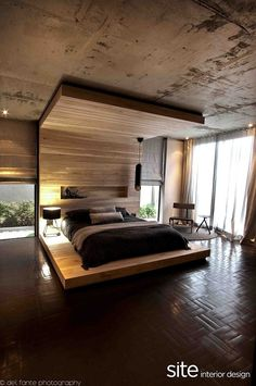 I want to fall asleep and wake up in this bed. Aupiais House by Site Interior Design