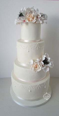 Finished with ivory and blush pink ribbon and hand piped detail   www.joscakes.net instagram @joscakes www.facebook.com/WeddingCakesbyJosCakes