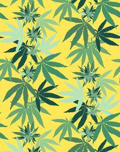 'Cannabis' Wallpaper by Nathan Turner - Daffodil - Wallpaper Roll