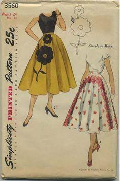 Vintage Circle Skirt Sewing Pattern | Simplicity 3560 | Year 1951 | Bust n/a | Waist 24 | Hip 33