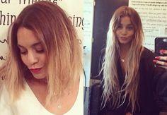 Vanessa Hudgens com o novo look e os cabelos ainda longos (Foto: Reprodução/Instagram e Twitter)