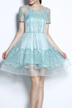 Ritayu Light Blue Embroidery Gauze Spliced Hollow Out Dress | Mini Dresses at DEZZAL