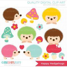 Happy Hedgehogs Clip Art / Digital Clipart - Instant Download
