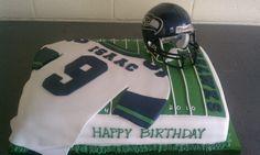 Seahawks football cake by Belinda of Mini Me Cake Designs
