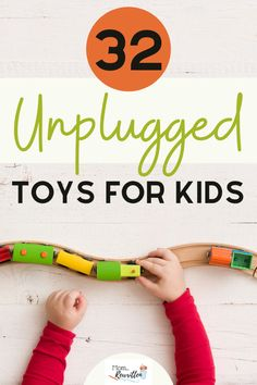 Who needs batteries or electronic games when your kids have these awesome imagination powered toys? This gift guide shares 32  toys for kids of all ages, including building toys, STEM, board games, crafts and hands-on fun for tactile kids. This round-up includes all high quality toys that will last and spur creativity! #Gifts #GiftGuide #BatteryFree #Toys #KidsToys #Shopping #ShoppingGuide #UnpluggedKids #STEM