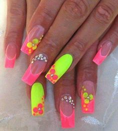 Fluorescent Hawaiian Nails