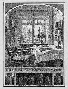 States, 'Ex Libris Horst Stobbe;' depicts an interior setting with a chair, a desk, and a window with a view of a cathedral. Also features owls and books at the bottom. Signed at bottom center 'Karl Fincke Koenigsberg. PR.'