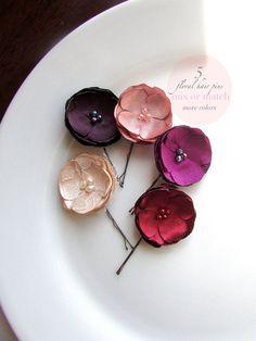 Ash purple fabric flower bobby pins small flower hair accessory satin flower bridal hair pins wedding hair pins bridesmaid hair accessories silk floral mightylinksfo