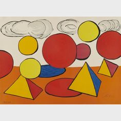 "Lot 4 Alexander Calder (1898-1976) - THE PEAK OF PROGRESS, CIRCA 1970 American - Colour lithograph on Arches paper; signed and numbered 86/100 in pencil to the image | 20.2"" / 51.4cm (height) x 28.3"" / 71.8cm (width) 