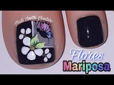 Decoración de uñas PIE con FLORES y MARIPOSA usando la técnica de ACUARELA/Diseño de uñas pie - YouTube Pedicure Nail Art, Toe Nail Art, Toe Nails, Flower Pedicure Designs, Nail Designs, Nail Polish, Lily, Akira, Youtube