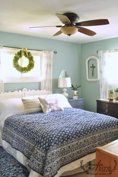 bedroom simply decorated for the holidays