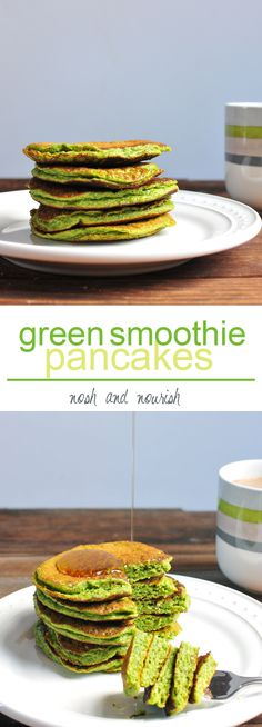 GREEN SMOOTHIE PANCAKES! All of the goodness usually packed into a green smoothie: spinach, almond milk, flax, banana, and nut butter... But in pancake form!! It's seriously our most favorite breakfast and perfect for #backtoschool! // via Nosh and Nourish