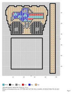MONSTER TRUCK BASKET Plastic Canvas Christmas, Plastic Canvas Crafts, Plastic Canvas Patterns, Candy Baskets, Plastic Baskets, Diy Christmas Gifts, Camilla, Needlepoint, Maya