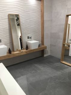 The tile was # ecologically and produced and therefore it is a … - White Kitchen Remodel Great Den, Dream Bath, Relaxing Bath, Wall Mounted Mirror, Home Spa, Muted Colors, Interior Decorating, Cosy Interior, Shelving