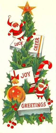 Vintage mid century modern Santa and tree Christmas card