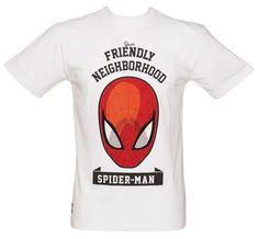 Men's White Spiderman Neighbourhood Marvel T-Shirt Marvel Clothes, Presents For Men, Man Logo, Kids Online, Comic Character, Spiderman, Super Heros, Men's Fashion, Mens Tops