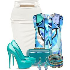 how to mix turquoise and teal clothes for work 4