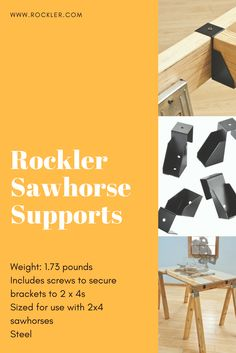 The one drawback to the ubiquitous and incredibly useful ''sawhorse workbench'' is that it almost always suffers from saddleback. But these nifty brackets from Rockler are an instant cure!