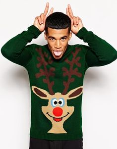 Asos - Green Holidays Sweater with Squeeky Nose Christmas Dress Up, Christmas Jumper Day, Christmas Fashion, Ugly Christmas Jumpers, Holiday Sweaters, Men's Sweaters, Asos, Funny Tee Shirts, Shirts With Sayings