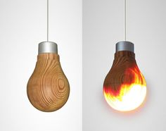 Een gloeilamp van hout