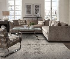 Loving the monochromatic style of this room of Swaim Furniture! Handmade in the USA Swaim offers furnishings with a. Print Wallpaper, Living Room Grey, Grey Rugs, Modern Rugs, Cool Designs, Upholstery, Design Inspiration, House Design, Couch