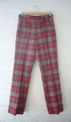 50s 60s Wool Pants Vintage Red Plaid Pants by KingArtsAndVintage, $60.00