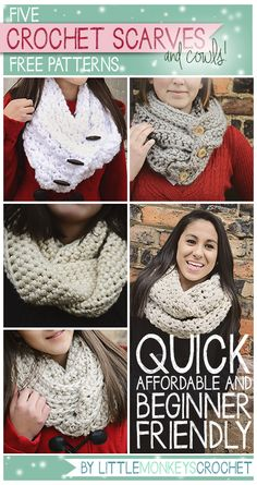 5 Beginner Friendly Super Bulky Scarves & Cowls Crochet Patterns | Little Monkeys Crochet